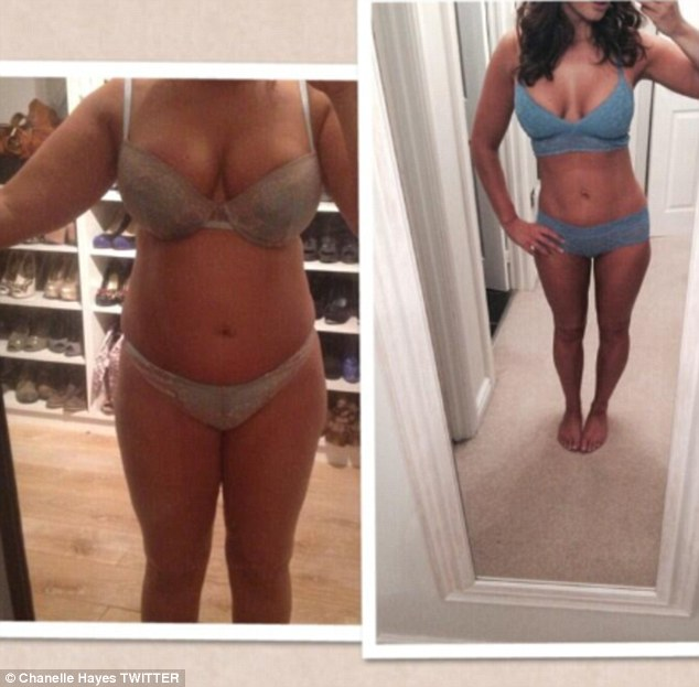Impressive transformation:  Chanelle Hayes showcased her imporesive weigh-loss in a series of selfies and captioned each shot: 'REAL weightloss pictures. No photoshop, lighting or camera tricks'