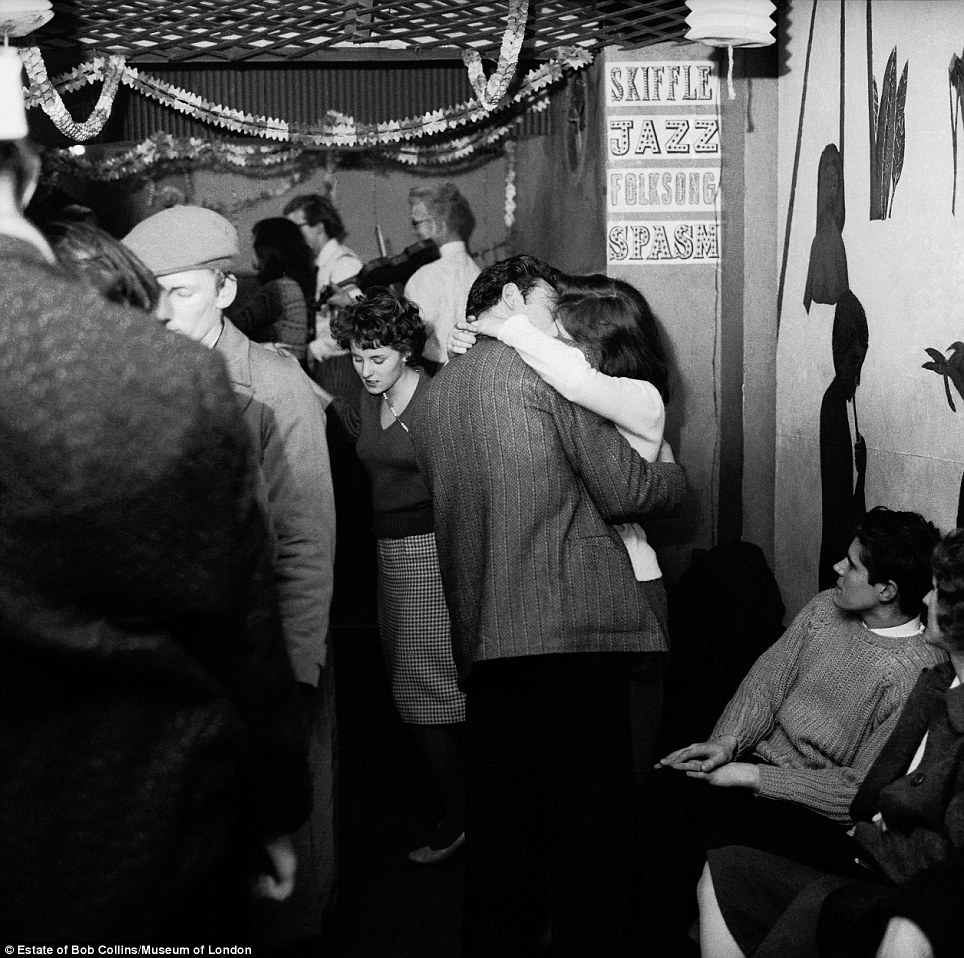 Swinging Sixties: A couple kissing at a Skiffle Club party in Soho in 1959. The BBC programme of the same name was one of the most pop music radio shows of its day