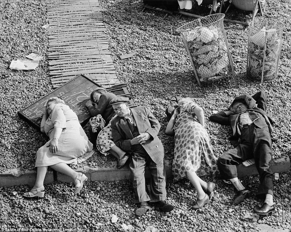 Beyond the city: Many of Mr Collins' photos were shot beyond the boundaries of London, This image of five pensioners was taken on Brighton Beach in around 1955
