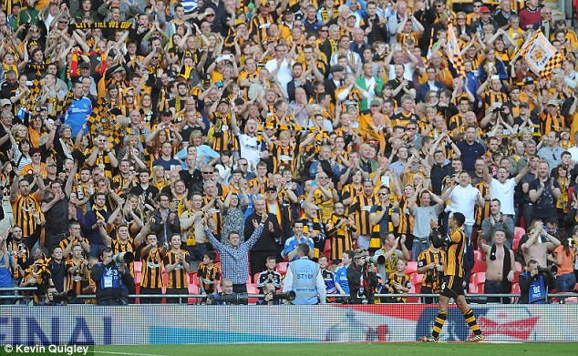 Career highlight: The Hull fans salute Davies after reaching the cup final by beating Sheffield United