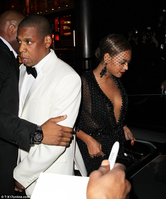 Leaving separately: Beyonce was seen getting into the car with Solange, while Jay Z rode in another vehicle
