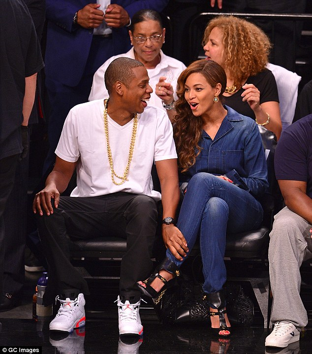 United front: Beyonce and Jay Z attended the Miami Heat vs. Brooklyn Nets game in NYC on Monday night