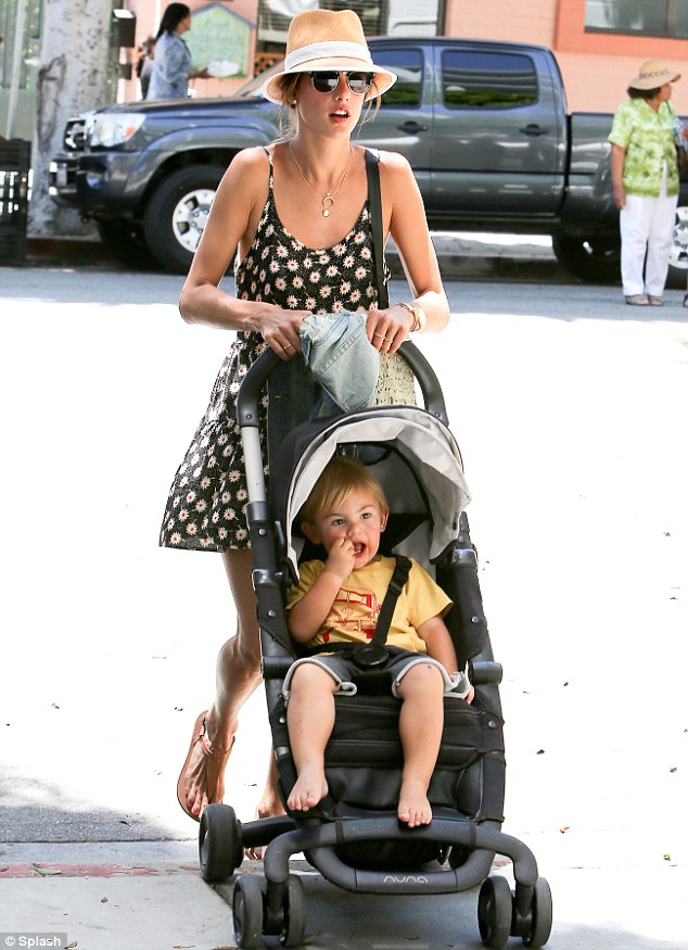 Mommy time: On Wednesday, the brunette beauty took her son Noah out to the Santa Monica Farmers Market