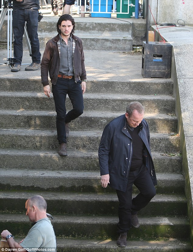 Spooks: Peter Firth and Kit Harington seen filming for the cinematic spin-off of the spy series in London