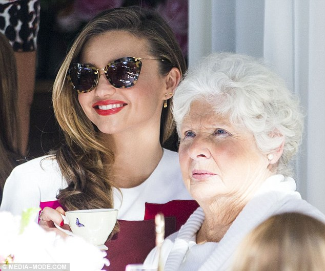 Keeping it in the family: Miranda launched her Royal Albert tea set at a pop store for the brand in Sydney on Friday - and made sure her special guest was her grandmother Ann as Therese was still in hospital