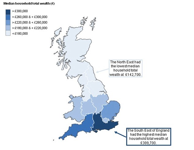 Total wealth: The South East has the highest average total household wealth