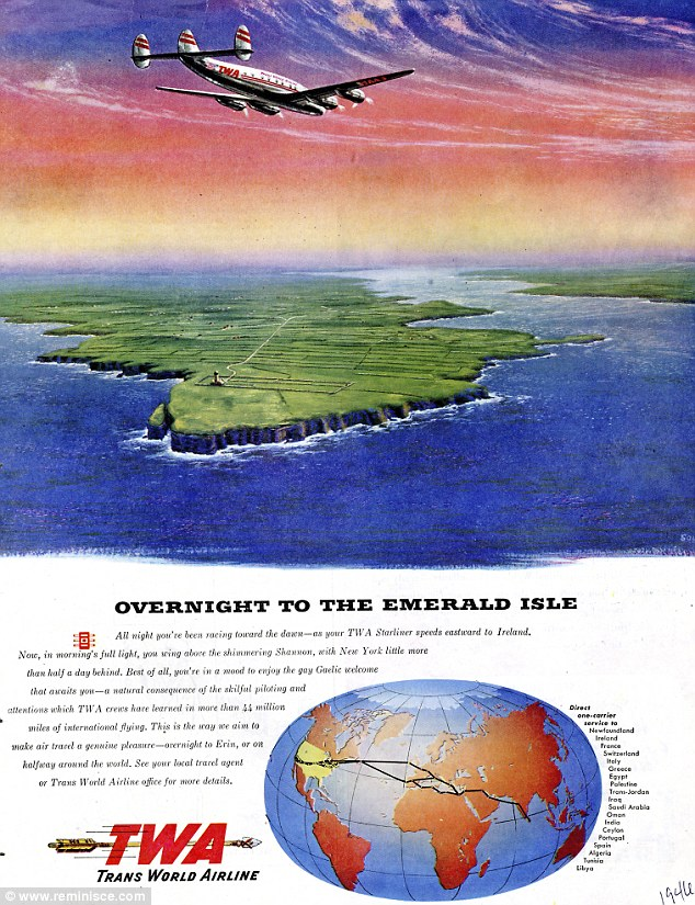 Look-back: TWA advertises its overnight route to the Emerald Isle in 1946