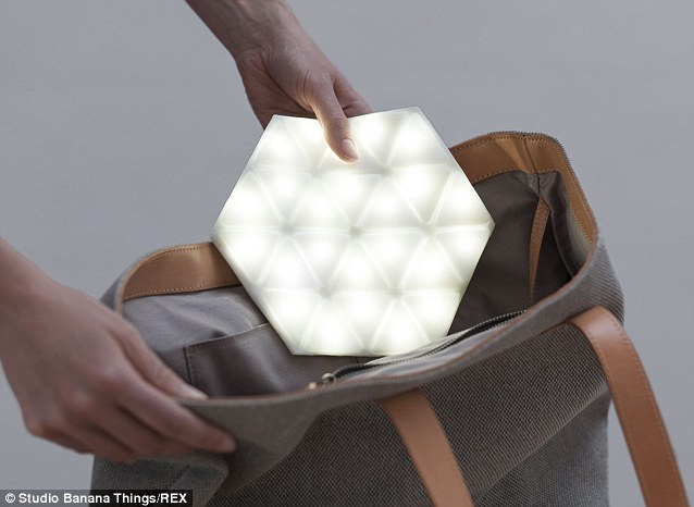 The creators say the device could also be used as a reading light, to create a romantic ambience, a torch or as a camping accessory, but lighting up your valuables may not be the most streetwise idea