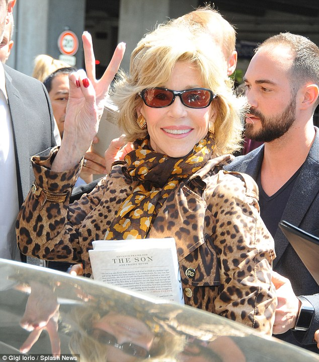 Here she comes! Fonda arrived at Nice Airport on Tuesday afternoon before hitting the red carpet later that night
