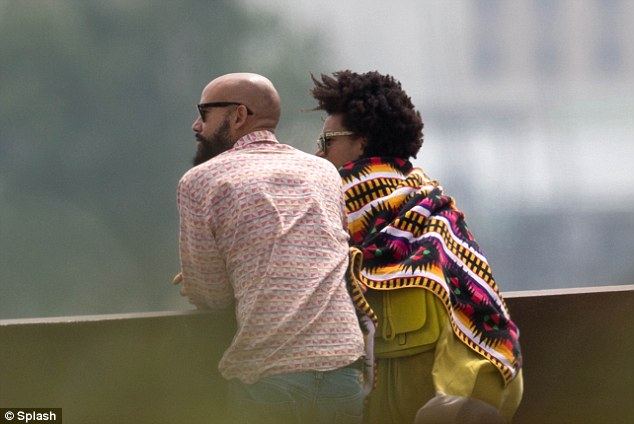 On the waterfront: Solange took in the sights