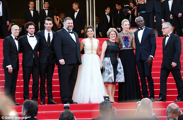 Full cast: From left Jeffrey Katzenberg, Kit Harrington, Jay Baruchel, Dean DeBlois, America Ferrera, Bonnie Arnold, Cate Blanchett, Djimon Hounsou and General Delegate of the Cannes Film Festival Thierry Fremaux attend the How To Train Your Dragon 2 premiere