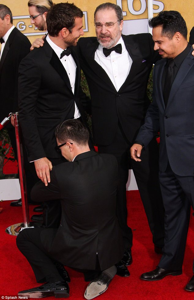 Crotch-grab: In January of this year, Bradley Cooper was surprised at the SAG awards when the journalist lunged at him and pushed his face into his crotch