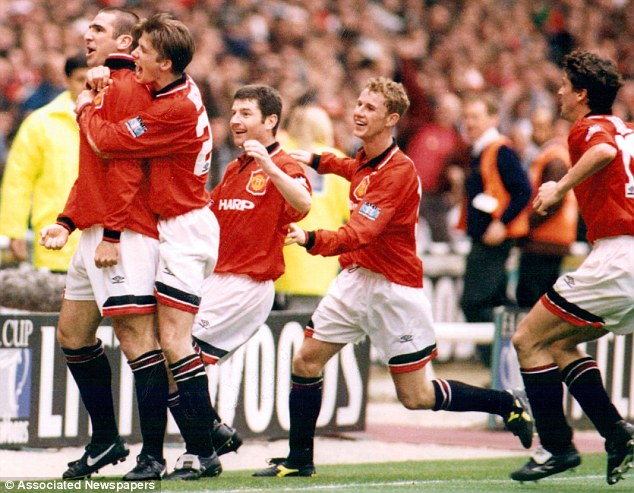 Match-winner: Eric Cantona celebrates after scoring against Liverpool in the '96 final but Bruce admits he couldn't say whether he received a medal or not