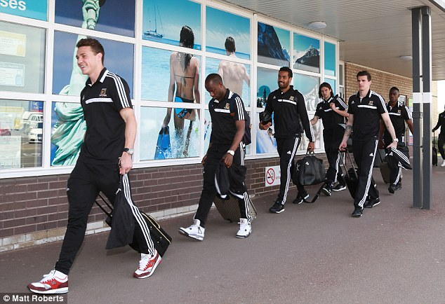 Special day: Hull City's players at Humberside Airport en route to London ahead of Saturday's FA Cup Final