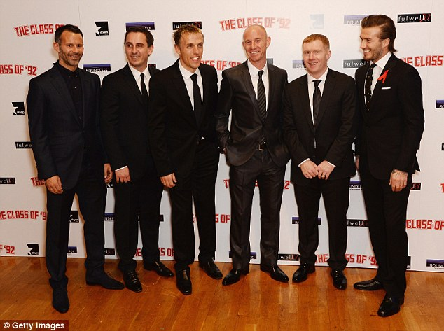 Heroes: Simpson is a fan of Man U's Class of '92, including David Beckham (far right) and Ryan Giggs (far left)