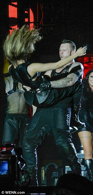 Hair raising: Jade got a lift from one of the dancers