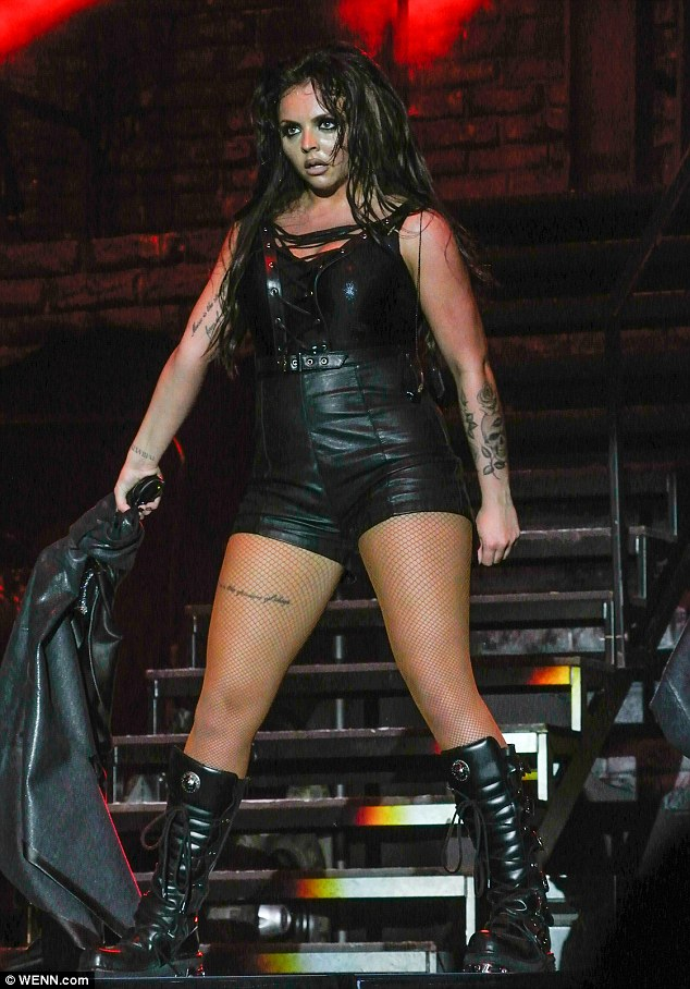 Showcase: Eldest bandmember Jesy led the way in the saucy attire as she put her various tattoos on display, including a quote written along her upper thigh