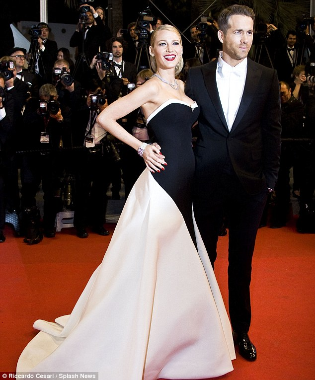 Best accessory: Blake appeared much happier when she was able to pose alongside her other half, Ryan