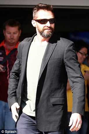 Hugh Jackman pictured arriving at Perth Domestic Airport ahead of the foundation launch