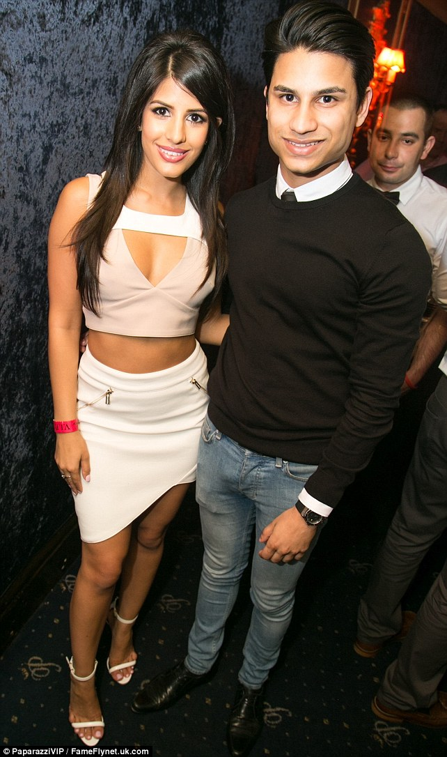 No sibling rivalry here: Jasmin and brother Danny looked happy in each others company inside the London nightspot