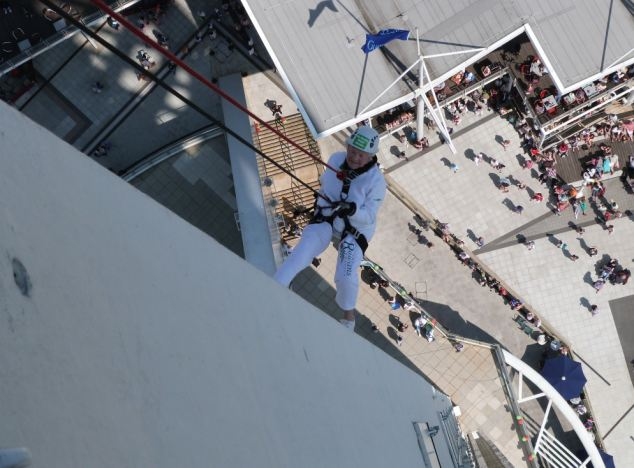 The inspirational pensioner regained her record for being the oldest person to abseil down a building