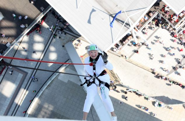 Mrs Long abseiled down the building in order to raise funds for The Rowans Hospice in Portsmouth