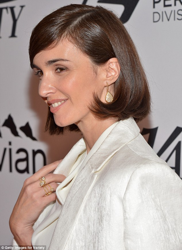 Elegant: The Spanish star also wore a number of gold rings with clear stones, while her make-up was kept simple
