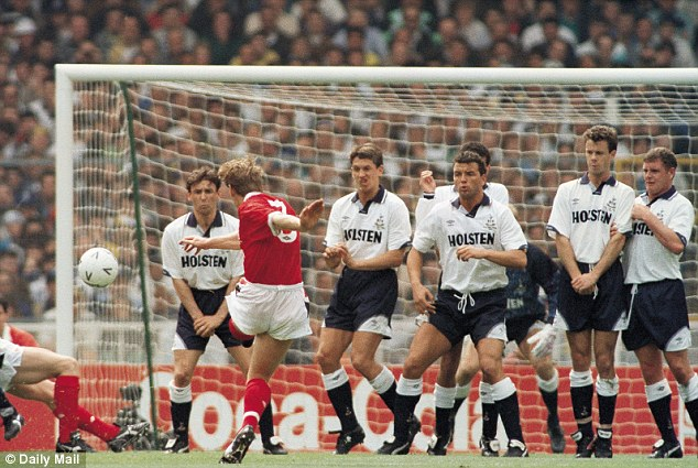 Expert: Nottingham Forest defender Stuart Pearce puts his side into the lead during the 1991 FA Cup final