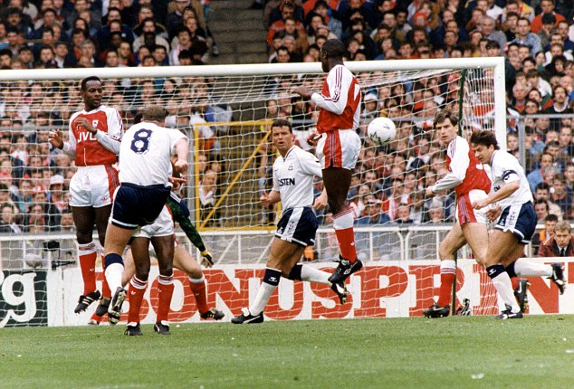 Unstoppable: Tottenham's Paul Gascoigne (No 8) unleashes a powerful free-kick into the top corner