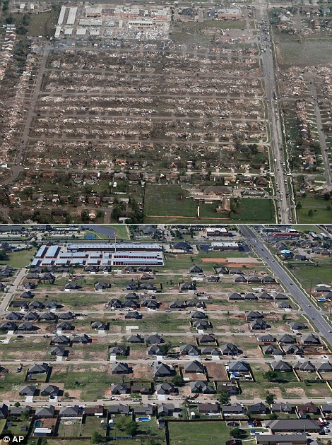 This combination of aerial photos shows the damage to homes and businesses on May 21, 2013, the day after a massive tornado hit Moore, Okla., top, and the same neighborhood under reconstruction on May 15, 2014, bottom. (AP Photo)