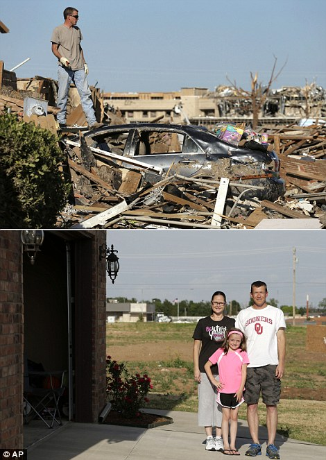 Ben Osborne surveys the scene as he sorts through his tornado-ravaged home in 2013 (top right) while he stands for photo with his wife Deidra and daughter Hannah, on the site where Deidra rode out the storm in shelter with 13 of her neighbors on May 8, 2014 (bottom right)