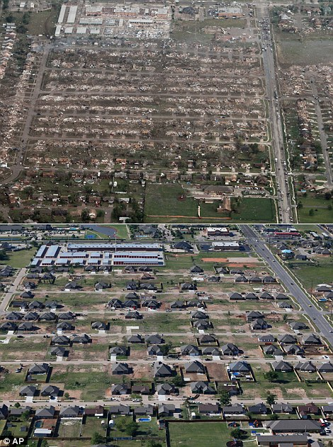 This combination of aerial photos shows the damage to homes and businesses on May 21, 2013, the day after a massive tornado hit Moore, Oklahoma top, and the same neighborhood under reconstruction on May 15, 2014, bottom