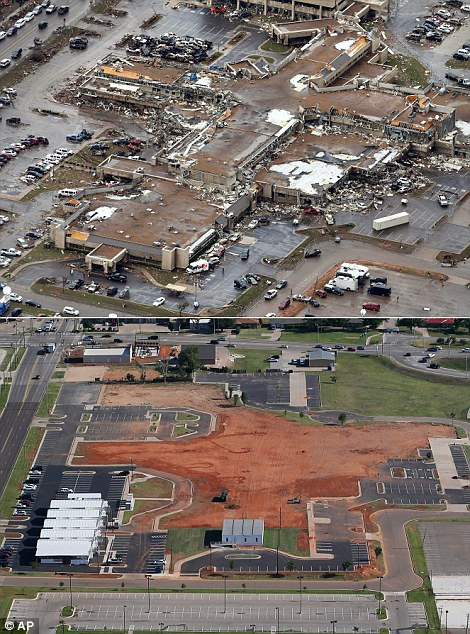 This aerial photo combination shows the damage to the Moore Medical Center Emergency Services on May 21, 2013, after a massive tornado hit Moore, Okla., the day before, top, and the same view on May 15, 2014, bottom