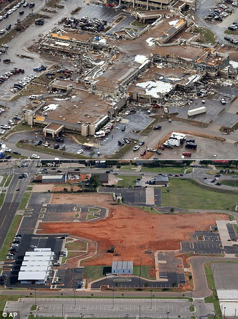 Wreckage: The damage to the Moore Medical Center Emergency Services on May 21, 2013 is seen (top left) while the (bottom left) picture shows the restoration on May 15, 2014