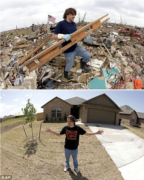 Strong: Kevin Kressler carries away debris at his tornado-ravaged home on last year (top left) and (bottom left) he stands for a photo in front of his new home in May 2014 -