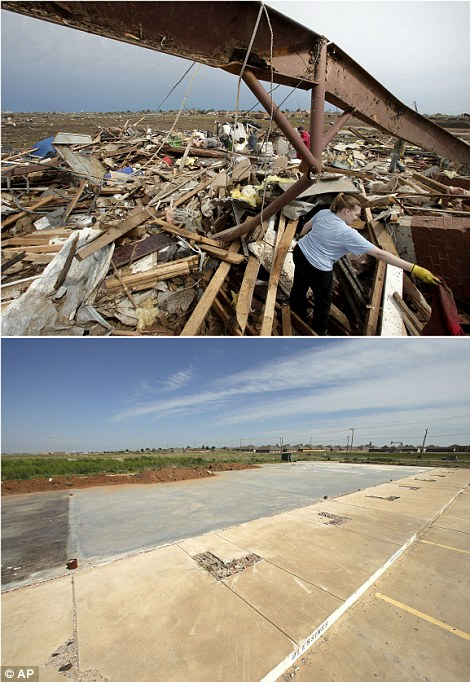 Search: Katie Thomas sorts through debris at a friend's tornado-ravaged daycare on May 21, 2013, in Moore, (top left) while a concrete slab is all that remains of the shopping center that contained the daycare on May, 8, 2014 (bottom left)