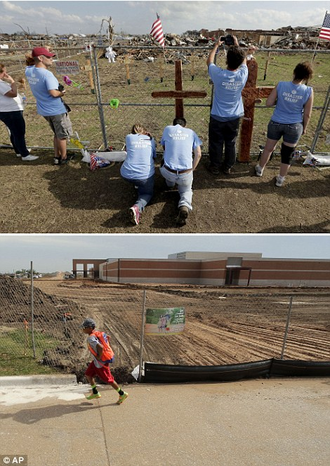 Intervention: Volunteers pray at a makeshift memorial on May 26, 2013, outside Plaza Towers Elementary School the day after seven students died when a massive tornado hit the town, (top left), while a boy walks past the rebuilt school building on the same site on May 7, 2014, (bottom left)