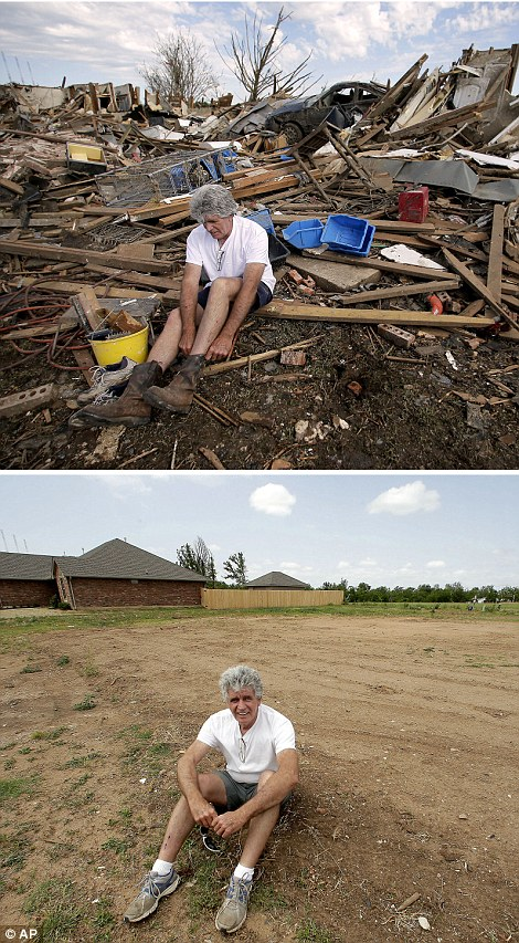 What remains: Rick Brown puts on a pair of boots after finding them in his tornado-ravaged home in Moore, last year (top left) while this year he sits on the now-cleared lot (bottom left)