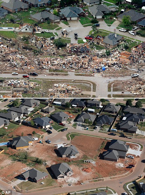 Demolished: The damage from the May 2013 tornado is seen (top left) - while reconstruction continues apace (bottom left)