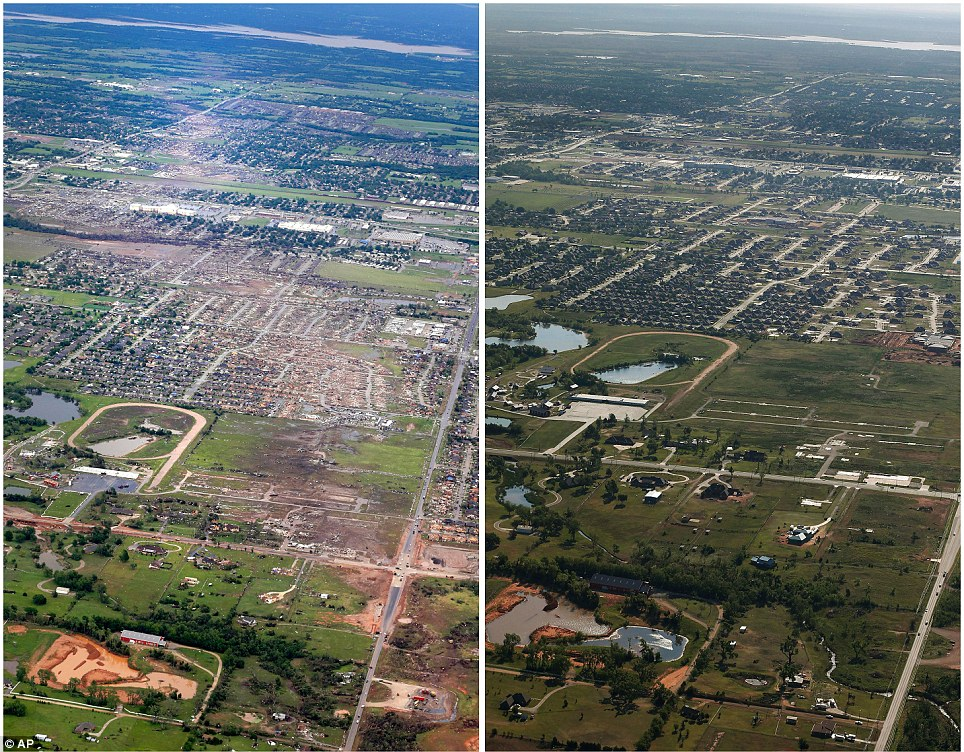 Trail of destruction: This combination of aerial photos shows the path of devastation on May 21, 2013, the day after a massive tornado hit Moore, Oklahoma, (left), and the same view on Thursday, May 15, 2014, (right)