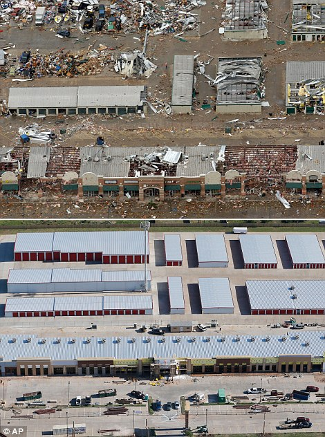 Economic impact: This aerial photo combination shows the damage to businesses after a massive tornado hit Moore (top left) While the rapid rebuilding (bottom left) has come along