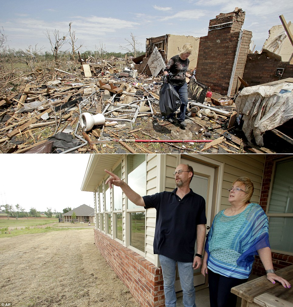 Recovery: In this photo combination, Lynne Holman carries salvaged items away from her boyfriend's tornado-ravaged home on May 23, 2013, (top), and Holman and boyfriend Paul Kemp, look over the tornado-scarred landscape outside their new home (bottom)