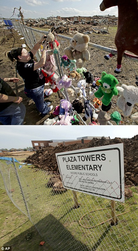 Ava Proffer hangs a toy on a fence at a makeshift memorial outside Plaza Towers Elementary School on May 26, 2013, where seven students died days earlier when a massive tornado stuck Moore, Okla., top, and construction continues today