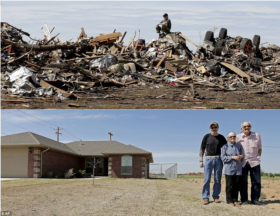 Home: David Lee Estep sits atop a pile of rubble that was the home he shared with his parents on May 23, 2013, three days after it was destroyed by an EF-5 tornado, (top), and Estep stands for a photo with his parents, Laura Lee and Donald Estep near their rebuilt home on May 7, 2014 (bottom)