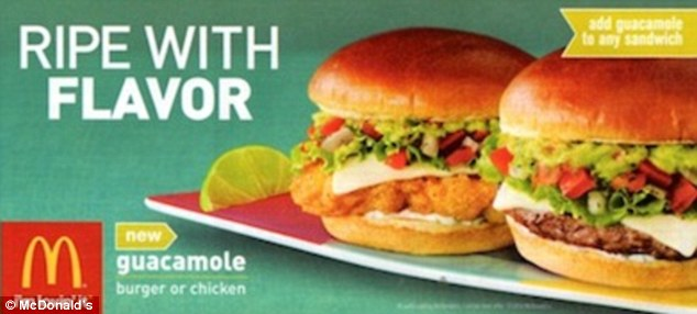 New offerings: Guacamole is being offered on three sandwiches - a beef burger, a crispy chicken sandwich and a grilled chicken sandwich