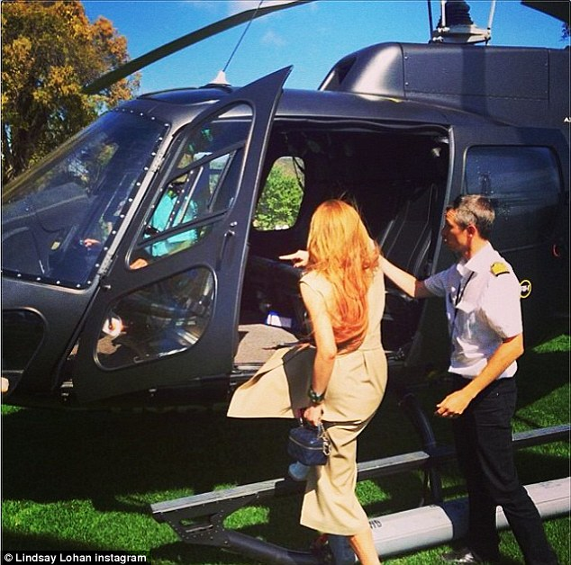 The only way to fly: The Mean Girls star got to go up in a helicopter after her event