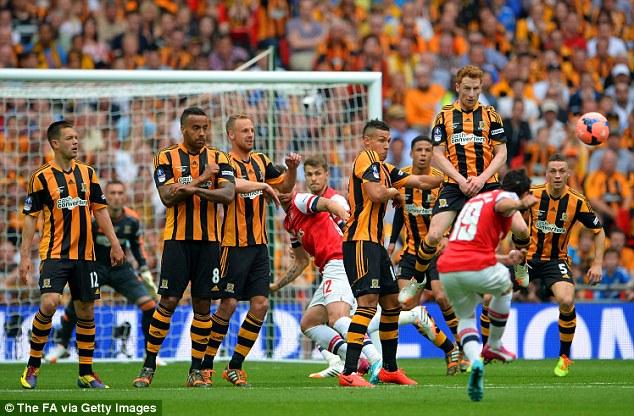 On target: Santi Cazorla scored a fantastic free-kick for Arsenal in Saturday's FA Cup final