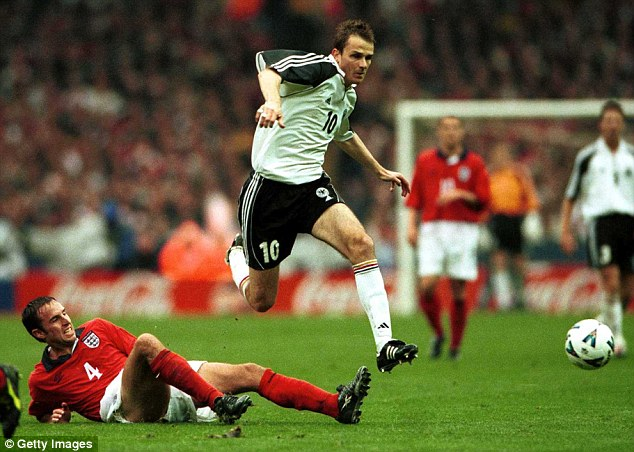 Low and hard: Dietmar Hamann's free-kick for Germany in 2000 was the last goal scored at the old Wembley