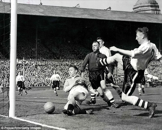 Day to remember: Stan Mortensen scored a hat-trick for Blackpool in the 1953 FA Cup final