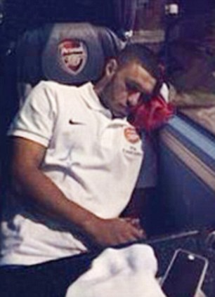 Wembley hangover: Podolski also caught Alex Oxlade-Chamberlain out and uploaded the picture to Instagram